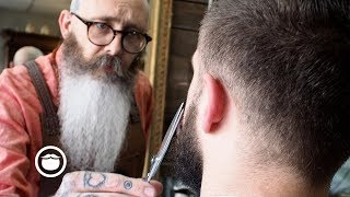 Download Master Barber Gives New Beard First Trim Video