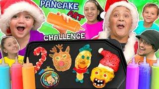 Download CHRISTMAS PANCAKE ART Challenge! FUNnel Vis Teams make 6 Pancakes in under 2 Minutes! Who Wi Video
