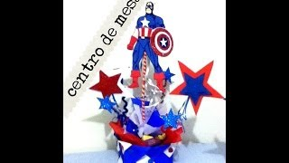 Download Centró de mesa fiesta Capitan America papel China fomy limpia pipas holiday centerpieces Video