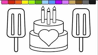 Download Learn Colors for Kids and Color this Ice cream Popsicle and Cake Coloring Page 💛💜 Video