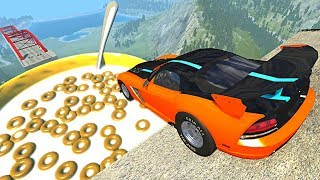 Download Beamng drive - Open Bridge Crashes over Giant Cereal bowl with Milk #7 Video