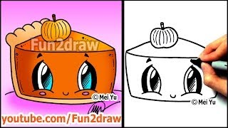 Download How to Draw Thanksgiving Things - Cute Pumpkin Pie - Fun2draw Food Video