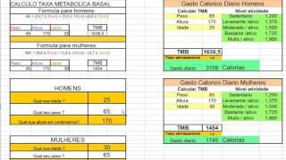 Download Tabela para calculo taxa metabolica basal e gasto calorico diario Video
