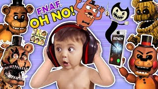 Download OH NO! BABY Shawn vs. FIVE NIGHTS at FREDDY'S 1,2, & 4 + He Calls BENDY & the INK MACHINE (FGTEEV) Video