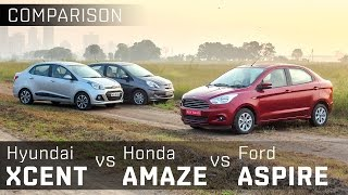 Download Ford Figo Aspire vs Hyundai Xcent vs Honda Amaze :: Diesel Compact Sedan :: Comparison :: ZigWheels Video