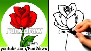 Download How to Draw an Easy Rose - Drawing Lessons - Learn to Draw - Fun2draw Video