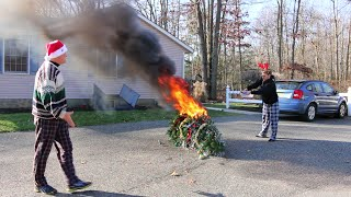 Download Psycho Kid Torches Christmas Tree Video