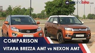 Download Maruti Suzuki Vitara Brezza AMT vs Tata Nexon AMT Comparison Review | NDTV carandbike Video