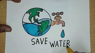 Download How to draw SAVE WATER SAVE EARTH Drawing For Kids || SAVE FUTURE Coloring drawing Video