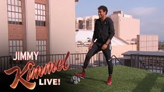 Download Neymar Jr. Attempts Terrifying Shot from Jimmy Kimmel's Roof Video