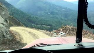 Download Peterbilt logger comes off a cliff. Video