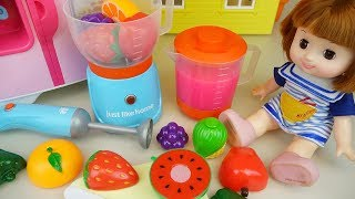 Download Baby doll and Fruit juice maker and refrigerator toys play Video