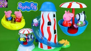Download Peppa Pig Theme Park Toys Helter Skelter Slide Fair Ride Muddy Puddles Suzy Sheep Emily George Toys Video