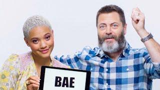 Download Nick Offerman Learns Millennial Slang From Kiersey Clemons | Vanity Fair Video