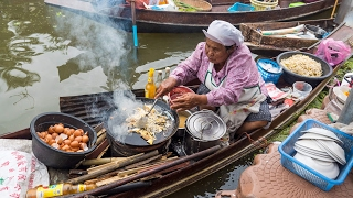 Download Thai Food at Tha Kha Floating Market (ตลาดน้ำท่าคา) - Don't Miss Aunty's Fried Oyster Omelet! Video