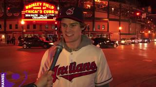 Download CLEVELAND INDIANS FAN KNOCKS CUBS FANS OUTSIDE WRIGLEYVILLE (WORLD SERIES) Video
