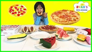 Download GUMMY FOOD VS REAL FOOD CHALLENGE taste test! Kid Fun giant candy review Ryan ToysReview Video
