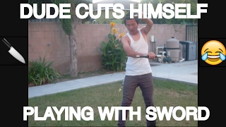 Download DUDE CUTS HIMSELF PLAYING WITH SWORD (MUST WATCH) Video