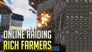 Download Online Raiding Rich Farmers TWICE Insane Loot // Rust Raids Video