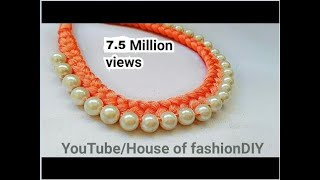 Download How To Make Silk Thread Necklace||Pearl Necklace At Home..! Video