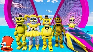 Download ALL GOLDEN ANIMATRONICS STUNT ON WORLD'S BIGGEST RAMP! (GTA 5 Mods For Kids FNAF) RedHatter Video