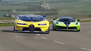 Download Battle Bugatti Vision GT vs Ferrari FXX-K Racing at Highlands Long Video