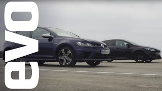 Download Ford Focus RS vs Volkswagen Golf R - which is fastest? | evo DRAG BATTLE Video