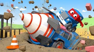Download A Giant Drill to save Charlie the Crane ! - Carl the Super Truck in Car City | Children Cartoons Video
