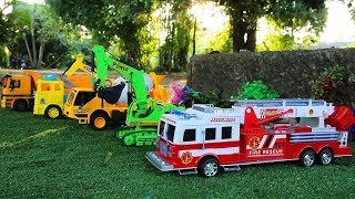 Download Toy Car Vehicles for Children | Fire Truck | Excavator | Truck | Cement Truck Video