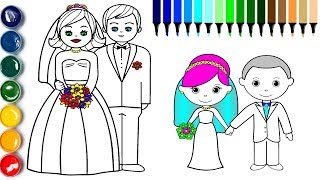 Download Little Bride and Groom Coloring Page | How to Draw Groom Bride Video