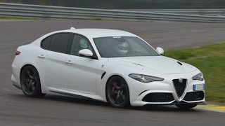 Download Alfa Romeo Giulia Quadrifoglio: action, powerslides & on board on track Video
