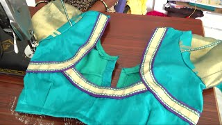 Download latest blouse designs with side patch with lace at back Video