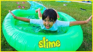 Download SLIME Water Slide for Kids H2O Slip N Slide Inflatable toy!!! Video