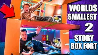 Download WORLDS Smallest TWO Story Box Fort 24 Hour Challenge 📦 Fortnite, Beyblades, Xbox One & More! Video