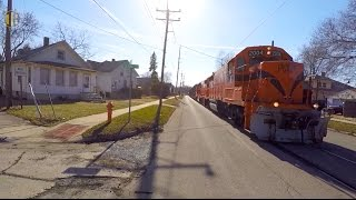 Download Train Running Down Middle of Street Video