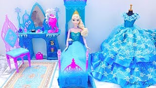 Download 💙Barbie princess bedroom💙Elsa Frozen💙Princess dollhouse morning routine bathroom shower dress Video