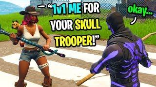 Download I let this kid 1v1 me for my PURPLE Skull Trooper skin on Fortnite... (EMOTIONAL) Video