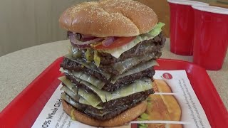 Download Wendy's T-Rex Burger Challenge Destroyed in under 4 Minutes! (3,010 Calories) Video