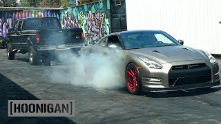 Download [HOONIGAN] DT 038: 800hp GTR Chained to Pickup Attempts Burnout Video