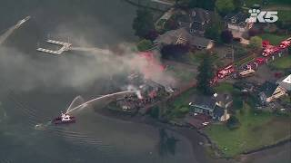Download Massive fire destroys waterfront Gig Harbor home Video