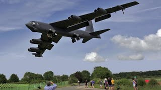 Download 🇺🇸 Screaming B-52 Bombers Landing Into RAF Fairford. Video