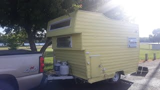 Download Woman travels in a vintage camper. Video