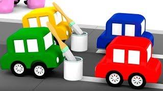 Download 4 coches coloreados. La reparación del camino. Dibujos para niños. Video