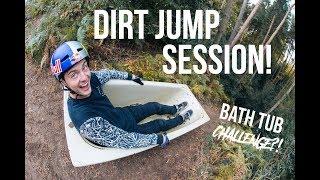 Download Dirt Jump Session! *Bath Tub Challenge?!* Video