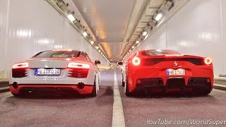 Download Ferrari 458 Speciale vs Audi R8 INSANE Straight Pipes REV BATTLE! Video