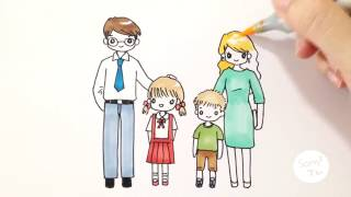 Download วาดการ์ตูนครอบครัวสุขสันต์กันจ้า How to draw a family Video