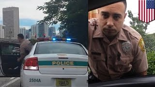 Download Woman pulls over Miami cop for speeding following high speed pursuit - TomoNews Video