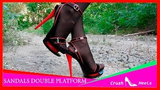 Download VERY HIGH HEELS SANDALS DOUBLE PLATFORM BLACK WITH RED Video