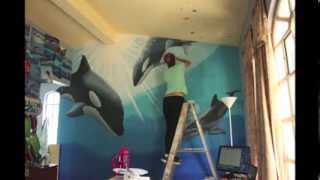 Download Mural painting dolphin and orcas Video