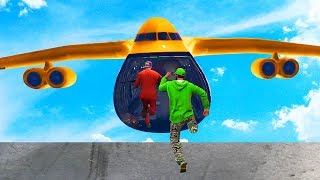 Download JUMP INTO THE FLYING CARGO PLANE CHALLENGE! (GTA 5 Funny Moments) Video